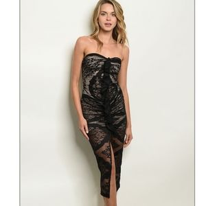 NUDE AND BLACK LACE Body con  Dress